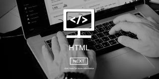Concepto de diseño del código del desarrollo web del HTML foto de archivo
