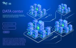 Concepto de diseño del centro de datos Ejemplo isométrico del vector libre illustration