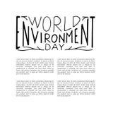Concepto de diseño del día del ambiente mundial con las letras de la mano fotos de archivo libres de regalías