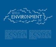 Concepto de diseño del día del ambiente mundial con las letras de la mano imagen de archivo