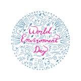Concepto de diseño del día del ambiente mundial con las letras de la mano fotos de archivo