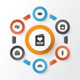 Concepto de diseño del icono del día de madres Sistema de 7 elementos tales como la invitación, la boca y la ayuda Símbolos hermo Fotos de archivo libres de regalías