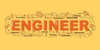 Concepto de diseño del INGENIERO Website Banner de la palabra stock de ilustración