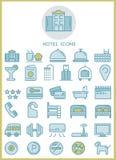 Concepto de diseño determinado de los iconos del hotel Foto de archivo libre de regalías