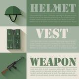 Concepto de diseño determinado militar plano del equipo del soldado Fotos de archivo