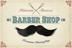 Concepto de diseño diseñado retro para una peluquería de caballeros Fotografía de archivo libre de regalías