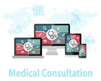 Concepto de diseño en línea del doctor Apps Responsive Web de la consulta médica ilustración del vector