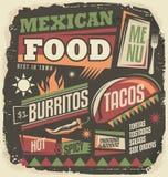 Concepto de diseño enrrollado del menú del restaurante mexicano Foto de archivo