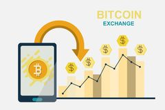 Concepto de diseño moderno plano de la tecnología del cryptocurrency, bitcoin stock de ilustración