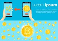 Concepto de diseño moderno plano de la tecnología del cryptocurrency, intercambio del bitcoin, explotación minera del bitcoin, ac ilustración del vector