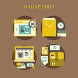 Concepto de diseño plano con los iconos del símbolo de las ideas de la tienda y de s en línea Fotografía de archivo libre de regalías