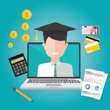 Concepto de diseño plano de las finanzas de la educación Imagenes de archivo