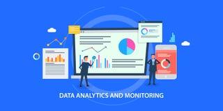 Concepto de diseño plano del analytics de los datos, supervisión de la página web, hombres que analizan datos de negocio ilustración del vector