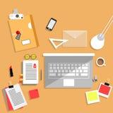 Concepto de diseño plano del espacio de trabajo creativo de la oficina Imagen de archivo libre de regalías