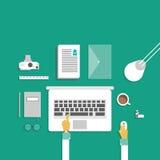 Concepto de diseño plano del espacio de trabajo creativo de la oficina Foto de archivo