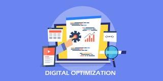 Concepto de diseño plano del márketing digital, optimización social de los medios, márketing video stock de ilustración
