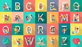 Concepto de diseño plano del vector móvil de la gente del alfabeto Foto de archivo libre de regalías