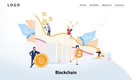 Concepto de diseño plano moderno de Blockchain Cryptocurrency y concepto de la gente Plantilla de aterrizaje de la página Web cry ilustración del vector