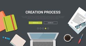 Concepto de diseño plano moderno de la maqueta para el proceso creativo de la creación
