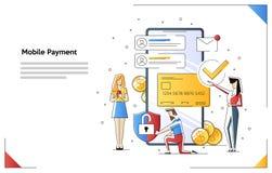 Concepto de diseño plano moderno de las compras en línea con el pequeño carácter adornado de la gente para la página web y la pág libre illustration