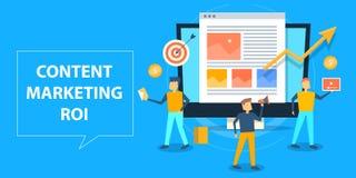 Concepto de diseño plano de ROI contento del márketing, presupuesto de marketing del contenido patrocinado stock de ilustración