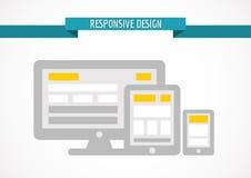 Concepto de diseño responsivo para el web, la pantalla de ordenador, la tableta y s Foto de archivo libre de regalías