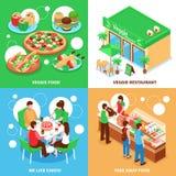 Concepto de diseño vegetariano 2x2 Fotografía de archivo