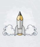 Concepto de diseño creativo con la herramienta del lápiz como cohete Imagen de archivo libre de regalías