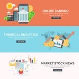 Concepto de diseño plano del análisis de datos grande del negocio, analytics financiero, actividades bancarias en línea, noticias Imágenes de archivo libres de regalías