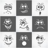 Concepto de diversas expresiones faciales Imágenes de archivo libres de regalías