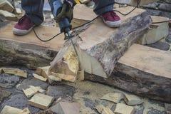 Concepto de DIY: tronco de árbol de las sierras de los hombres fotos de archivo