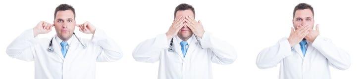 Concepto de doctor de sexo masculino con gesto sordo y mudo ciego imagen de archivo
