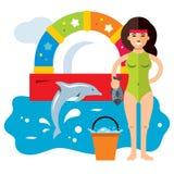 Concepto de Dolphinarium del vector Ejemplo colorido de la historieta del estilo plano libre illustration