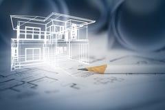 Concepto de drenaje de la casa ideal del diseñador con el drawin de la construcción imagenes de archivo