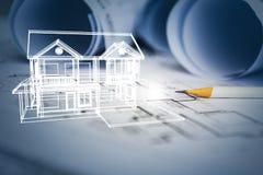 Concepto de drenaje de la casa ideal del diseñador con el drawin de la construcción Fotos de archivo libres de regalías