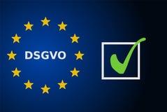 Concepto de DSGVO con la marca de verificación ilustración del vector