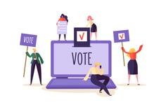 concepto de E-votación con los caracteres que votan usando el ordenador portátil vía sistema electrónico de Internet El hombre y  ilustración del vector
