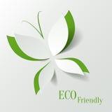 Concepto de Eco - la mariposa verde cortó el papel como l stock de ilustración
