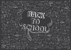 Concepto de educación El fondo de la escuela con las fuentes de escuela dibujadas mano y el discurso cómico burbujean con de nuev Fotografía de archivo libre de regalías