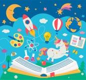 Concepto de educación de los niños mientras que lee el libro Fotografía de archivo