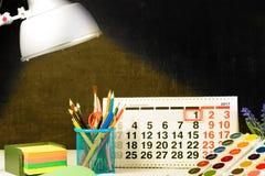 Concepto de educación, primer de septiembre o de nuevo a la escuela w Imagen de archivo