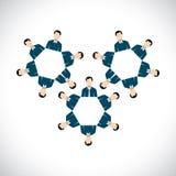 Concepto de empleados de oficina como las ruedas dentadas o ruedas de engranaje - v plano Foto de archivo libre de regalías