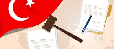 Concepto de ensayo del juicio de la constitución de la ley de Turquía de la legislación legal de la justicia usando el papel y la ilustración del vector