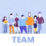 Concepto de equipo acertado del negocio que se une Ilustración de la historieta del vector ilustración del vector