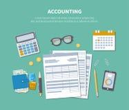 Concepto de estadísticas Día del impuesto Empresaria que trabaja con informes financieros Fotos de archivo libres de regalías