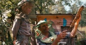 Concepto de familia de apicultores El padre con el panal en el marco de madera es diciendo a su pequeño hijo cómo ocuparse almacen de metraje de vídeo
