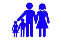 Concepto de familia feliz aislado en blanco Fotografía de archivo