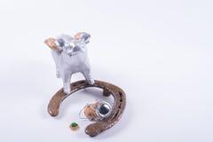 Concepto de finales de ano de la tarjeta con el cerdo, herradura en blanco Fotos de archivo
