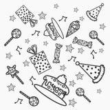 Concepto de garabatos del feliz cumpleaños Imágenes de archivo libres de regalías