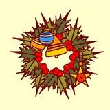 Concepto de Garland Hand Drawn Holiday Decoration del icono de la guirnalda de la Navidad Imágenes de archivo libres de regalías